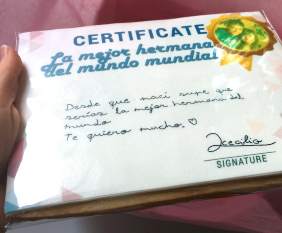 Galleta regalo de Certificado para la mejor hermana